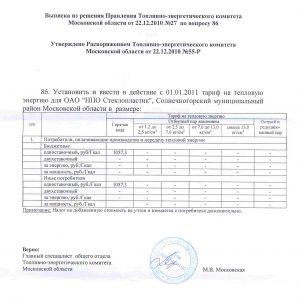 Выписка по тарифам на тепловую энергию для ОАО